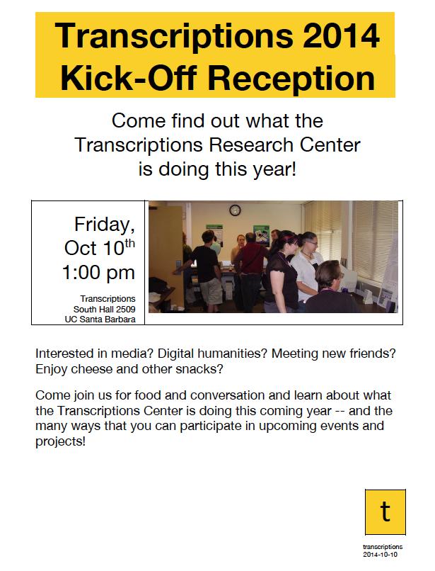 Transcriptions 2014 Kick-Off Reception!